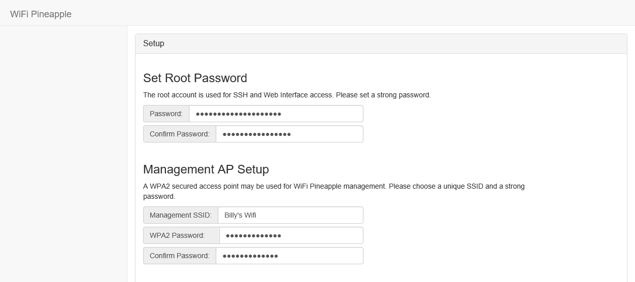 Management password and wifi